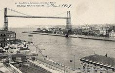 Panorámica del Puente Bizkaia y Las Arenas, 1907.  Junto a la torre del puente se puede ver la primitiva Iglesia de Las Mercedes (ref. SN00031)