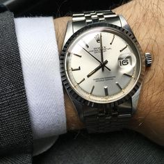 """""""Mint Sigma Datejust on Jubilee today. Mens Fashion Suits, Mens Suits, Watch Photo, Vintage Rolex, Rolex Datejust, Gold Watch, Watches, Collection, Style"""