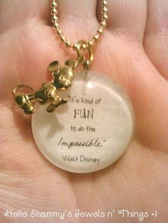Walt Disney Quote Necklace It's kind of fun to do the impossible. with Mickey charm. by HelloShammys, $16.00