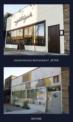 restaurant exterior Before amp; After Nightingale Restaurant Exterior Commercial Interior Design, Shop Interior Design, Cafe Design, Restaurant Exterior, Bar Restaurant, Arched Windows, Big Windows, Modern Exterior, Exterior Design