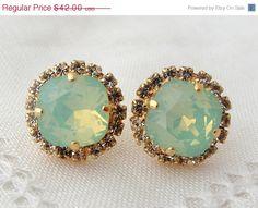 Mint opal Swarovski crystal stud earrings, mint seafoam Rhinestone stud earrings, Bridal earrings, Bridesmaid earrings, 14k gold plate    Lovely