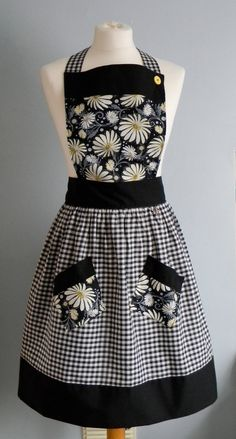 Black and white gingham pinny apron with daisie by MrsBeeAprons, £20.00