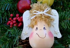 light bulb angel christmas tree ornament with wings and hair