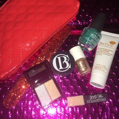 Ipsy red makeup bag bundle Red Ipsy bag nail filer l a colors treasure island nail polish x formula vernis a ongles nail polish be fine food skin care exfoliating cleanser Jessie girl eye shadow primer glamour dolls trouble trouble new dress eye shadow clerks botanicals deep moisture mask Makeup