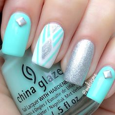 White base, mint, turquoise, studs, glitter, silver, accents, stripes, lines, diamond, Square, striping tape,