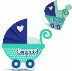 baby carriage card-----------------------------I think I'm in love with this shape from the Silhouette Online Store!
