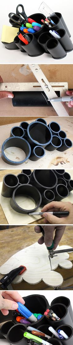 Using plastic pipes from the hardware store.