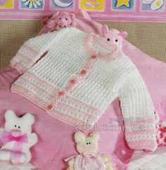 бело-розовый жакет для девочки вязаный крючком