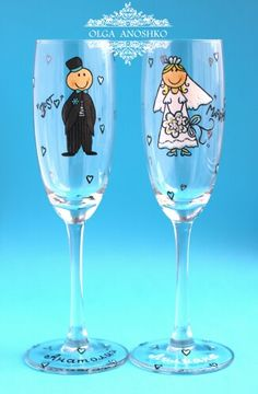 Champagne glasses, Wedding glasses, personalized gift
