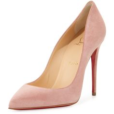 Christian Louboutin Pigalle Follies Suede Red Sole Pump ($840) ❤ liked on Polyvore featuring shoes, pumps, heels, ronsard pink, shoes pumps, red sole shoes, suede slip on shoes, pink shoes, suede shoes and pointed toe pumps