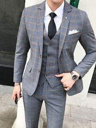 Classic Plaid Men's Suit England Style Dress Slim Fit Wedding Suits For Men 2019 New Spring Autumn Formal Casual Tuxedo Suit Man - Mujaah Top Fashion, Plaid Fashion, Mens Fashion Suits, Mens Suits, Suit Men, Cheap Fashion, Fashion Dresses, Trendy Fashion, Latest Fashion