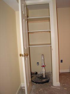 Home Remodeling Closet Sump pump closet Basement Remodel Diy, Basement Laundry, Basement House, Basement Makeover, Basement Storage, Basement Bedrooms, Basement Flooring, Basement Renovations, Home Remodeling