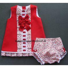 Vestido Calabria pique rojo con cubrepañal