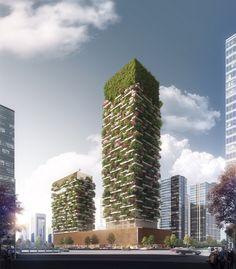 Fachadas verdes e tons naturais são características do projeto de Stefano Boeri. (Fonte: Archdaily).