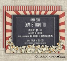 Movie Theater BIRTHDAY PARTY Invitations Girl by CardtopiaDesigns