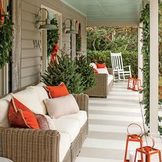 What She Did: Front Porch - Before & After: Carolina Colonial Christmas - Southern Living
