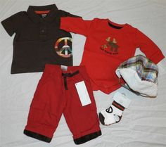 Pant Set 6pc Gymboree Red Brown Winter Mix n Match Boy 0-3 month New #Gymboree #OutfitSet6pc