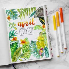 25 Incredible tropical bullet journal spreads to inspire your next vacation (and my Hawaii stationery haul! Bullet Journal Spreads, April Bullet Journal, Bullet Journal Ideas Pages, Bullet Journal Inspo, Bullet Journal Layout, Bullet Journal Leaves, Bullet Journal Decoration, Bullet Journals, Bullet Journal Vacation