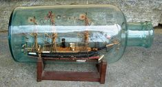 ship in a bottle Boat In A Bottle, Ship In Bottle, Model Sailing Ships, Model Ships, Antique Toys, Antique Furniture, Antiques For Sale, 19th Century, Bookends