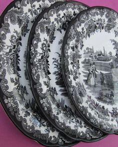 I adore china and the more the better. & 46 PIECE BLACK WHITE Toile Dinnerware SET for 8 French | Black ...
