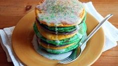Kick off Mardi Gras with a plate of these festive pancakes.