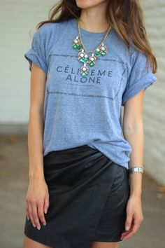 graphic tees go upscale with a skirt and fun jewelry.