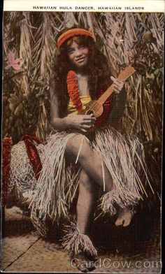 Photo of Full length view of female in hula outfit sitting with ukulele in front of straw hut, postcard (HAWAII) Antique Photos, Old Photos, Vintage Photos, Tahiti, Hawaii Hula, Hawaiian Dancers, Hula Dancers, Polynesian Culture, Hula Girl