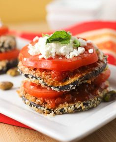 Baked Eggplant with Pistachio Pesto and Goat Cheese - sub gluten-free bread crumbs