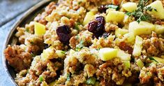 Sausage Apple Cranberry Stuffing is a traditional Thanksgiving stuffing recipe full of fresh ingredients to maximize flavor. This Thanksgiving stuffing is super easy to make and can be made ahead too! Stuffing Recipes For Thanksgiving, Thanksgiving Side Dishes, Holiday Recipes, Holiday Meals, Ground Turkey Sausage, Cranberry Stuffing, Thing 1, Cooking Turkey, Holiday Dinner