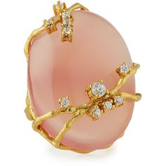 Indulgems Oval Pink Chalcedony & CZ Cocktail Ring ($94) ❤ liked on Polyvore featuring jewelry, rings, pink, statement rings, cz rings, pink ring, vine ring and oval cubic zirconia ring