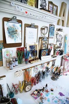6 Creative Studio Organization Tips – apartment.club 6 Creative Studio Organization Tips Appartement Design Studio, Studio Apartment Design, Art Studio Design, Design Art, Interior Design, Art Studio Room, Art Studio At Home, Painting Studio, Art Studio Spaces