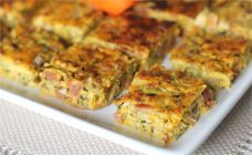 The easy zucchini and chorizo bake is great as a light meal or cut into bite-sized pieces for snacks. It is great for the kids lunchboxes.  Find more on Kidspot, New Zealand's recipe finder.