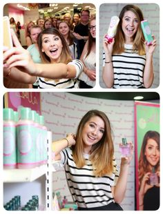 New collage I have made, Zoella at Superdrug She has met 250 Fans as she launched the Tutti Frutti range! Zoella Products, Zoella Beauty, Tanya Burr, Zoe Sugg, Shorter Hair, Popular People, Tutti Frutti, Amazing Pics, Celebs