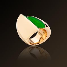 Eclisse - Vhernier, Eclisse ring in rose  gold, jade and rock crystal. Made in Italy.