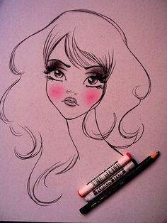 fashion illustration - pink cheeks, black eyes?  So simple and pretty.  Doin' it.