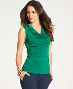 Ruched Cowl Neck Sleeveless Top   Ann Taylor