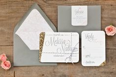 Gold, grey and pink wedding invitations from Dandelion Willows. sparkle, girly, elegant