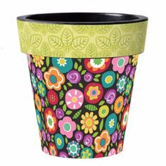 This unique planter is digitally printed in the USA with UV-resistant inks. Features a double-walled rim and drainage hole. Made of lightweight, durable polypropylene. Painted Clay Pots, Painted Flower Pots, Flower Planters, Hand Painted, Cactus Flower, Flower Pot Crafts, Clay Pot Crafts, Diy And Crafts, Mary Engelbreit