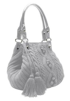 Woman Within Cable knit sweater handbag with tassels
