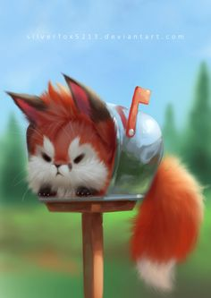 cute fox Post Fox by on DeviantArt Cute Fox Drawing, Cute Animal Drawings Kawaii, Cute Cartoon Animals, Anime Animals, Cute Drawings, Funny Animals, Cute Fantasy Creatures, Cute Creatures, Super Cute Animals