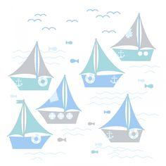Kinderzimmer Wandsticker Schiffchen blau/mint 63-teilig