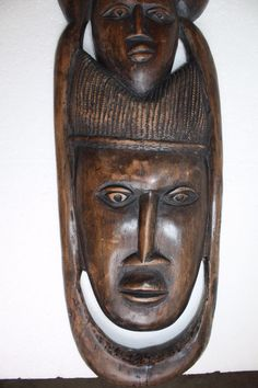 Antique XXL Wall Plaque African Primitive Wooden Art Heavy Hard Wood Hand Carved