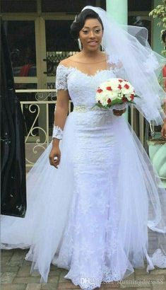 Charming African Detachable Train Wedding Dresses Plus Size Illusion Long Sleeves Sheer Neck Cheap Wedding Reception Dress Bridal Gown Cheap Off The Shoulder Mermaid Wedding Dresses One Shoulder Mermaid Wedding Dress From Stunningdress88, $106.29| DHgate.Com