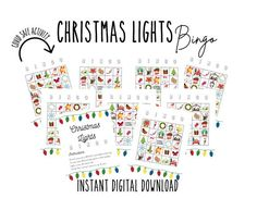 Looking for a fun family activity that is COVID-19 friendly? Drive around to look at Christmas lights with our BINGO cards! Hunt for all the traditional things you might find in the light displays of your neighborhood, and cross them off on your cards as you go. This instant digital download gives Xmas Games, Christmas Games, Christmas Printables, Family Christmas, Christmas Decorations, Christmas Activities For Families, Family Activities, Holiday Lights, Christmas Lights