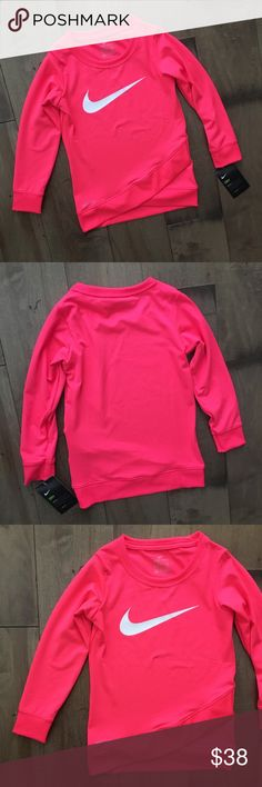 NWT NIKE Kids Sweatshirt Top DRI-FIT PINK 4 GIRLS Brand new with tags. $38 Retail. Size 4 (3-4 years). 88% polyester, 12% elastane. Nike Shirts & Tops Sweatshirts & Hoodies
