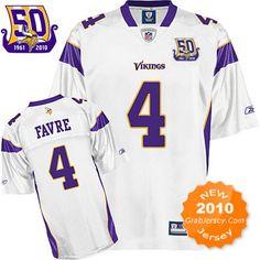 50Th NFL Jersey Minnesota Vikings Brett Favre #4 White $25.99
