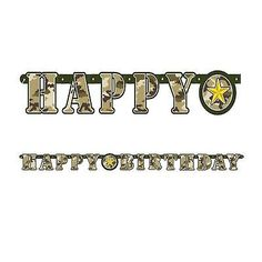 Military Camo Happy Birthday Banner for sale online Army Birthday Parties, Army's Birthday, Happy Birthday Banners, Soldier Party, Army Party, Camouflage, Military, Sign, Decoration
