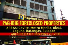 """Here's an early heads-up for the next public auction of Pag-IBIG foreclosed properties. Pag-IBIG NCR will conduct another """"sealed public auction"""" on Foreclosed Properties, Batangas, Asset Management, Real Estate Broker, Public Service, Real Estate Investing, Manila, Property For Sale, December"""