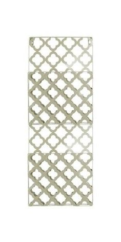 Metal Rectangular Wall Mail Organizer with 2 Tiers and Peforated Quatrefoil Pattern Coated Finish Champagne, As Shown