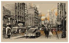 A avenida São João, na Suiça Avenida São João, c.1950, estudo para pintura, 100 x 90 cm, detalhe Marco Angeli, maio de 2015 Pintando, estará em breve na Suiça